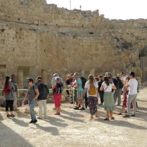 people on a study tour at an archeological site in Israel